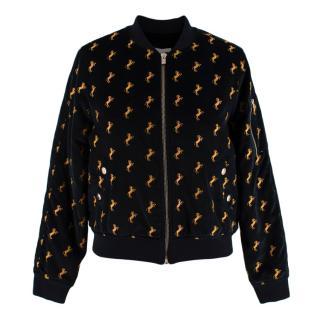 Chloe Black Velvet Horse Embroidered Bomber Jacket