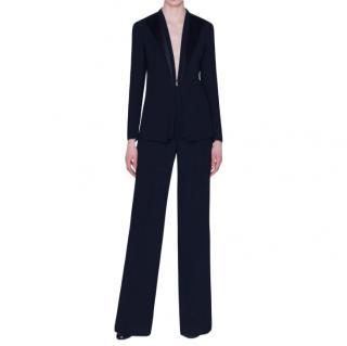 Akris Black Wool Delaney Tailored Satin Lapel Jacket