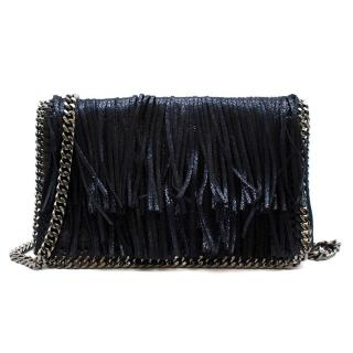 Stella McCartney Blue Glitter Fringed Falabella Shoulder Bag