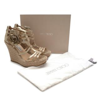 Jimmy Choo Gold Nappa Leather Wedge Sandals