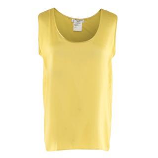 Yves Saint Laurent Yellow Silk Satin Tank Top