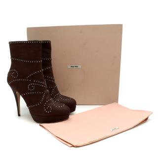 Miu Miu Brown Leather Studded Platform Ankle Boots