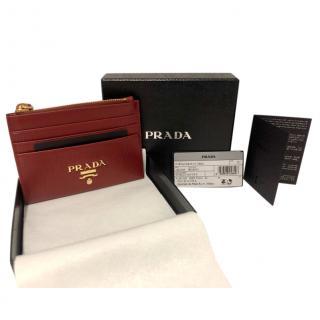 Prada Red Matelasse Leather Card Holder