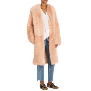 Raey Dusty Pink Shearling Coat