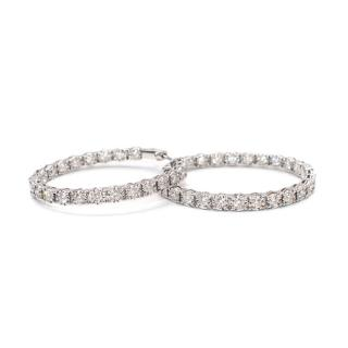 Bespoke 18kt White Gold Inside/Outside Diamond Medium Hoop Earrings