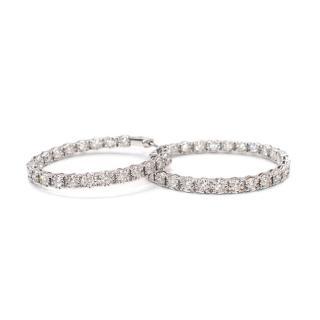 Bespoke 18kt White Gold Inside/Outside Diamond Large Hoop Earrings