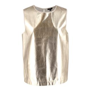 Raoul Gold Leather and Beige Silk Sleeve Top
