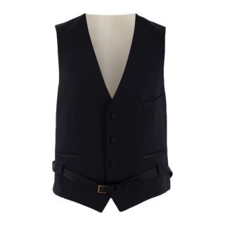 Gucci Black/Ivory Wool Belted Waistcoat