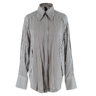Petar Petrov Black & Ivory Striped Silk Blouse