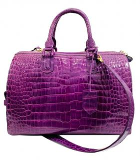 Ethan K Shiny Purple Crocodile Crystal Embellished Boston Bag