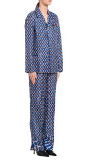 Prada Blue Geometric Print Silk Twill Pyjamas