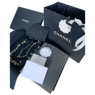 Chanel Chain trim Faux Pearl Trimmed Leather Chain Necklace