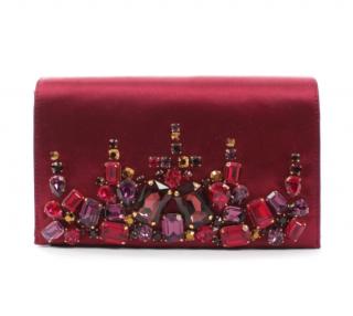 Prada Red Satin Crystal Embellished Clutch