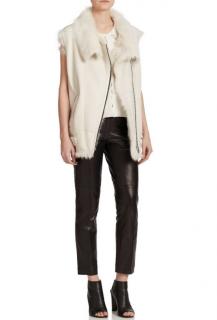 Iro Shearling Lined Ivory Leather Jacket