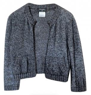 Chanel Cashmere Blend Grey CC Knit Cardigan