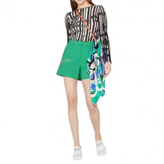 Emilio Pucci Green Runway Embroidered Shorts