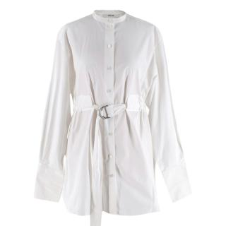 Celine by Phoebe Philo White Cotton Belted longline Blouse