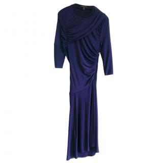 Louis Vuitton Blue Draped Jersey Dress
