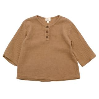 The Simple Folk Tan Cotton Long-sleeve Top