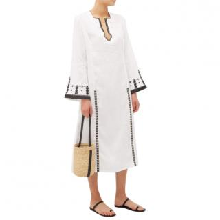 Zeus + Dione Tangara Embroidered Linen Kaftan Midi Dress