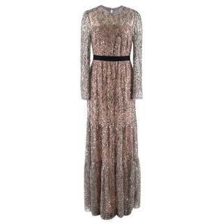 Self Portrait Sequin Metallic Tiered Gown