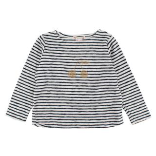 Bonpoint Cherries Embellished Long-sleeve Striped Top
