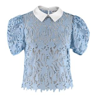 Self Portrait Blue Lace-Cut Collared Blouse
