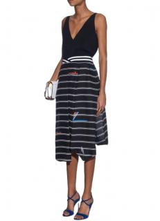 Preen By Thorton Bregazzi Striped Asymmetric Skirt