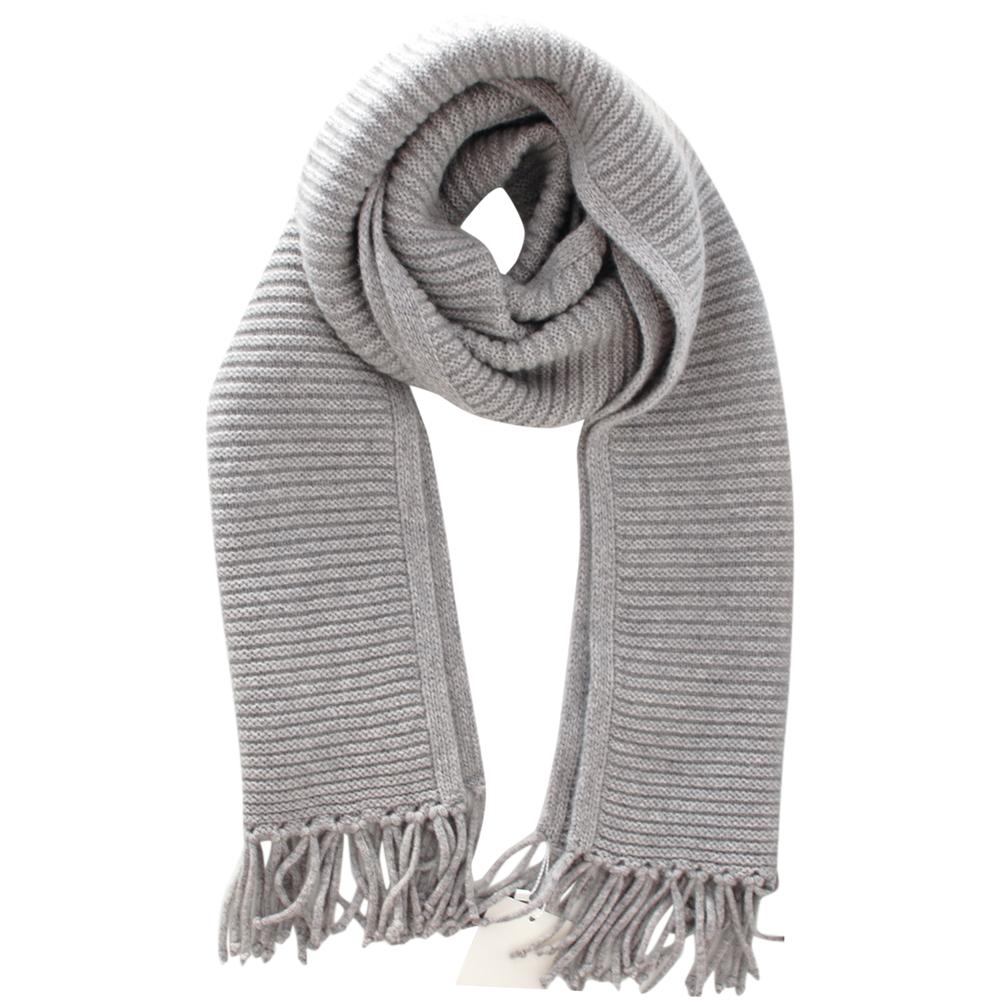 Max Mara Grey Cashmere Knit Scarf