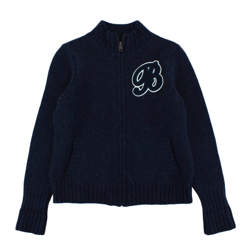 Bonpoint Blue Wool & Alpaca Blend Knit Zipper Cardigan
