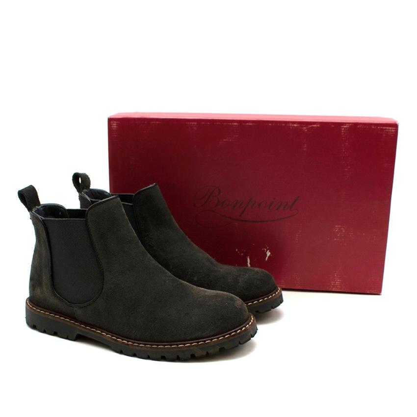 Bonpoint Dark Brown Suede Chelsea Boots