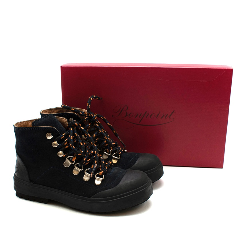 Bonpoint Navy Suede Ankle Boots