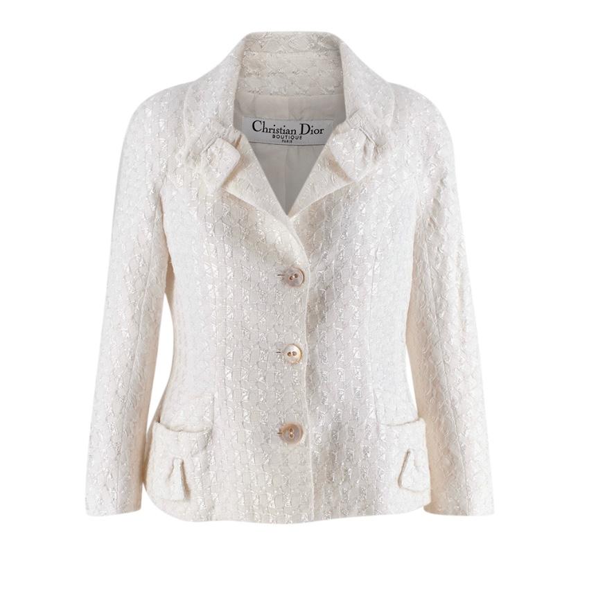 Christian Dior Ivory Cotton Blend Textured Bar Jacket