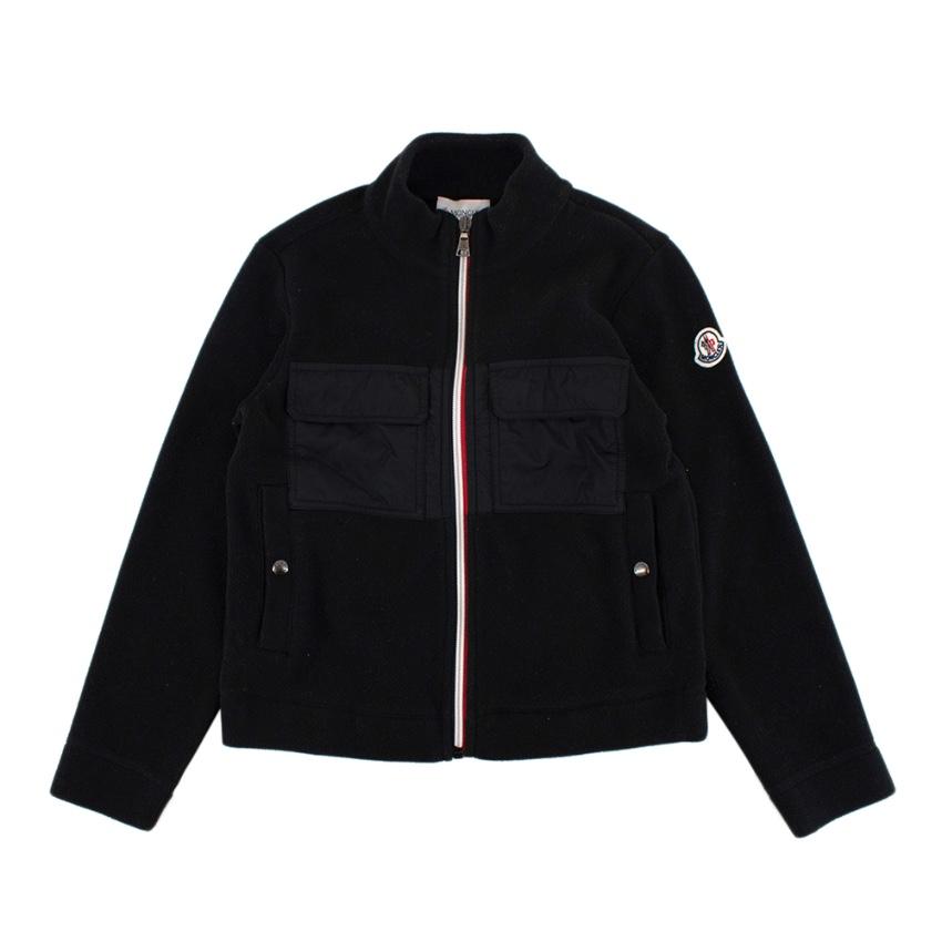 Moncler Children's Black Fleece Zip-Up Jacket