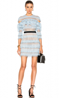 Self Portrait Blue Stripe Grid Mini Dress