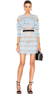 Self Portrait Blue Stripe Grid Mini Dress