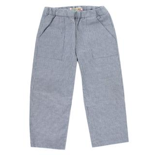 Bonpoint Blue Striped Cotton Trousers
