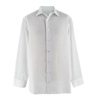 Donato Liguori White Dotted Cotton Long Sleeve Tailored Shirt