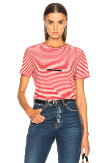 Saint Laurent Red & White Striped T-Shirt