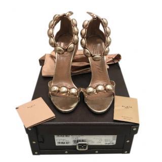 Alaia Metallic Rose Gold Bombe Sandals