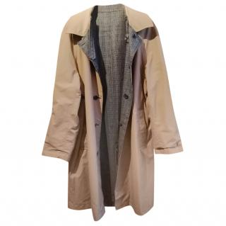 Lanvin Grey Check Tweed & Tan Reversible Mac