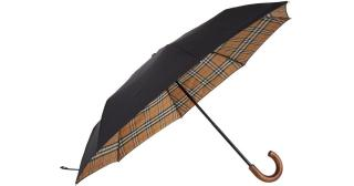 Burberry Vintage Check Lined Black Umbrella