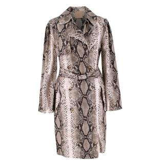 Lanvin Natural Snake Print Lightweight Silk Trench Coat
