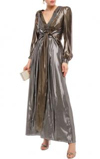 Alberta Ferretti Knotted two-tone silk-blend lam� gown