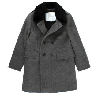 Burberry Kids 6Y Grey Wool & Cashmere Mink Fur Collar Coat
