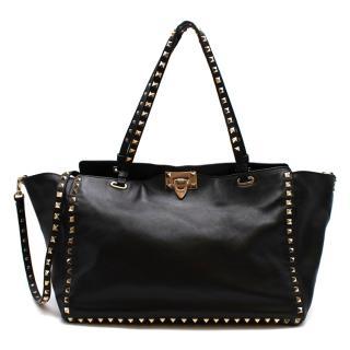 Valentino Black Leather Rockstud Medium Tote