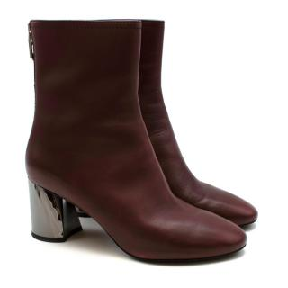 3.1 Phillip Lim Burgundy Drum Leather Ankle Boots