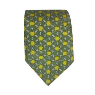 Hermes Green & Yellow Star Silk Tie