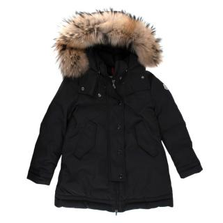 Moncler Black Fur Trimmed Hooded Down Jacket