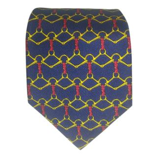 Hermes Navy Bridle Silk Mens Tie